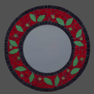 Round Red Leaf Mirror